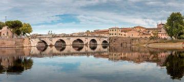"Panorama pont de Ponte d du ""Augusto à Rimini, Italie photo stock"
