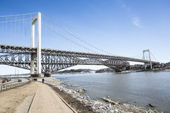 Panorama of the Pont de Quebec in spring season. A panorama of the Pont de Quebec in spring season Royalty Free Stock Photos