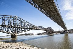 Panorama of the Pont de Quebec in spring season Stock Photo