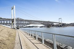 Panorama of the Pont de Quebec in spring season Stock Images