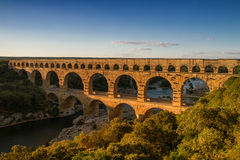 Panorama of Pont Du Gard Royalty Free Stock Photography
