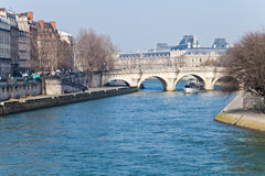 Panorama with Pont Neuf in Paris Stock Images