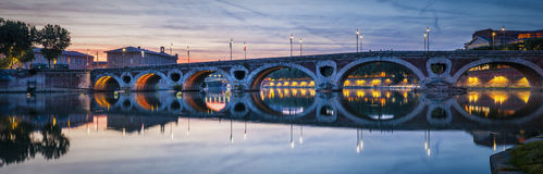 Panorama of Pont Neuf in Toulouse Stock Photography