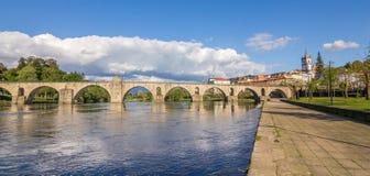 Panorama of Ponte Da Barca and the roman bridge Stock Photos