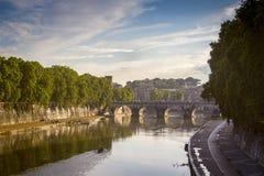 Panorama Ponte Sant Angelo Bridge over the Tiber River in Rome in Italy. Stock Photo