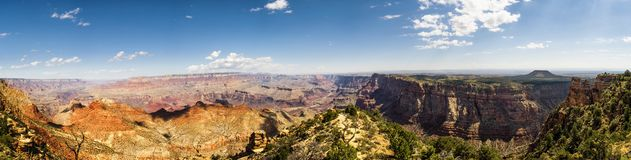 Panorama: Ponto de opinião do deserto da torre de vigia - Grand Canyon, borda sul - o Arizona, AZ Fotos de Stock Royalty Free