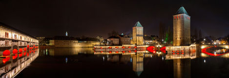 Panorama of Ponts couverts in Petite France district of Strasbou. Rg Stock Photography