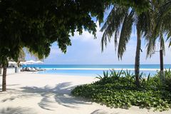 Panorama of the pool in the Maldive Islands Royalty Free Stock Images
