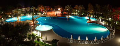 Panorama of pool at night Royalty Free Stock Images