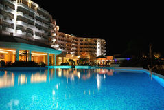 Panorama of a pool by night Stock Photo