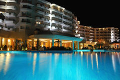 Panorama of a pool by night Stock Photography