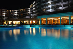 Panorama of a pool by night Royalty Free Stock Photo