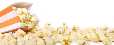 Panorama, Popcorn box in front of white, copyspace Stock Image