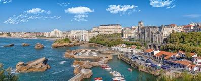 Panorama of port area in Biarritz Stock Photos
