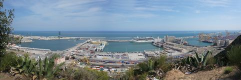 Panorama port Barcelona obraz royalty free