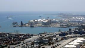 Panorama of a port gas storage Stock Photos