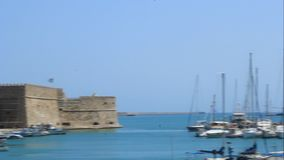 Panorama of the port of Heraklion stock video footage