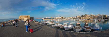 Panorama of the port in Heraklion, Crete, Greece Royalty Free Stock Images