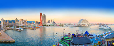 The panorama from the Port of Kobe in the twilight. Royalty Free Stock Images