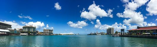 Panorama of Port Louis, Mauritius. Port Louis, Mauritius - Jan 4, 2017. Panorama view of Port Louis, Mauritius. Port Louis is the country economic, cultural royalty free stock image
