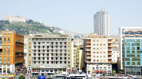 Panorama from the port of Naples Stock Image