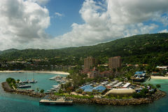 Panorama of port in Ocho Rios in Jamaica from the sea. Panorama of port in Ocho Rios. Jamaica Royalty Free Stock Photo