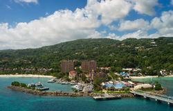 Panorama of port in Ocho Rios in Jamaica from the sea. Panorama of port in Ocho Rios. Jamaica Stock Photography