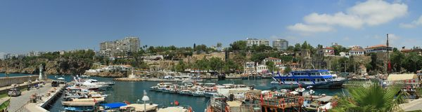 Panorama on port of the old town of ANTALYA Royalty Free Stock Photo