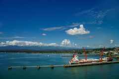 Panorama of port in Puerto Limon in Costa Rica from the sea stock photography