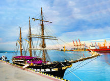 Panorama of the port ships Royalty Free Stock Photos