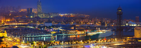 Panorama of Port Vell at Barcelona in night Royalty Free Stock Photos