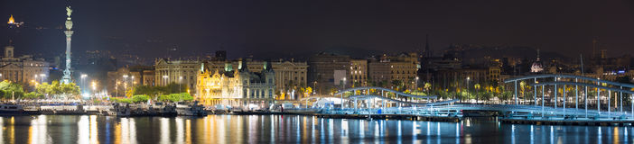 Panorama of Port Vell at Barcelona in night Royalty Free Stock Image