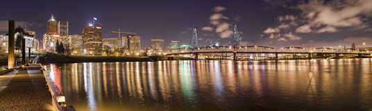 Panorama of Portland Oregon at Night Stock Photography