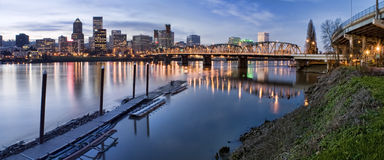Panorama of Portland Oregon at Night Stock Photos