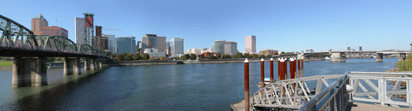 A panorama of Portland Oregon skyline & bridges. Royalty Free Stock Photography