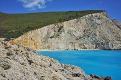 Panorama of Porto Katsiki Beach, Lefkada, Ionian Islands Stock Photography