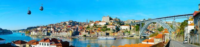 Panorama of Porto, Portugal. Panoramic view of Porto with cable car and boats on Douro river. Portugal royalty free stock image
