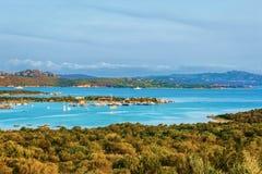 Panorama Porto Rotondo in Costa Smeralda resort Sardinia. Panorama of Porto Rotondo and Marinella in Golfo Aranci in Costa Smeralda resort in Mediterranean sea stock photo