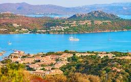 Panorama of Porto Rotondo Costa Smeralda resort Sardinia. Panorama of Porto Rotondo in Golfo Aranci, Costa Smeralda resort on Mediterranean sea, Sardinia, Italy stock photo