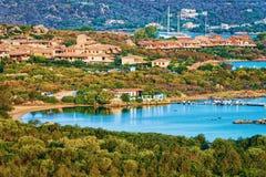Panorama of Porto Rotondo on Costa Smeralda resort Sardinia. Panorama of Porto Rotondo in Golfo Aranci on Costa Smeralda resort in Mediterranean sea, Sardinia royalty free stock image