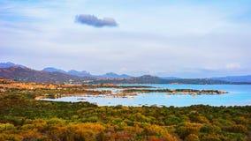 Panorama of Porto Rotondo at Costa Smeralda resort Sardinia. Panorama of Porto Rotondo and Marinella in Golfo Aranci at Costa Smeralda resort in Mediterranean stock image