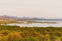 Panorama Porto Rotondo at Costa Smeralda resort Sardinia. Panorama of Porto Rotondo and Marinella in Golfo Aranci at Costa Smeralda resort in Mediterranean sea royalty free stock photography