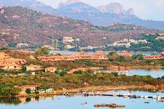 Panorama of Porto Rotondo in Costa Smeralda resort Sardinia. Panorama of Porto Rotondo in Golfo Aranci in Costa Smeralda resort in Mediterranean sea, Sardinia royalty free stock images