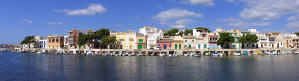 Panorama of Portocolom landing stage Royalty Free Stock Photography
