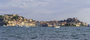 Panorama of Portoferraio,island of Elba. Morning view of the awakening city of Portoferraio Royalty Free Stock Images
