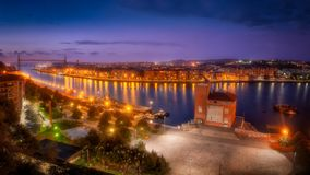 Panorama of Portugalete and Getxo. With Hanging Bridge royalty free stock images
