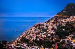 Panorama of Positano, Amalfi Coast during blue hour after sunset, Positano, Italy royalty free stock photos