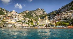 Panorama Positano miasteczko, Amalfi wybrzeże, Włochy Obraz Stock