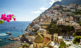 Panorama of Positano town, Amalfi Coast, Italy stock photography