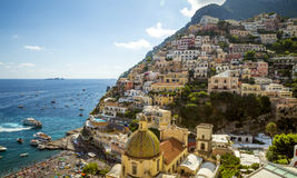Panorama of Positano town, Amalfi Coast, Italy stock photos